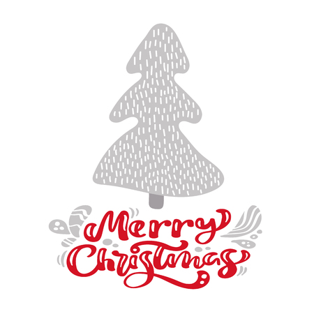 Hand drawn scandinavian illustration fir tree. Merry Christmas calligraphy vector lettering text. xmas greeting card. Isolated objects.