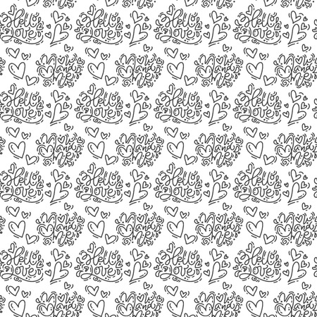 Hand drawn cute Valentines Day heart flourish and Hello love text pattern background. Seamless Vector illustration for love and wedding, greeting card and invitation.