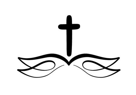 Illustrazione vettoriale di icona cristiana. Emblema con Croce e Sacra Bibbia. Comunità religiosa. Vettoriali