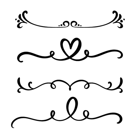 Vector vintage line elegant dividers and separators, swirls and corners decorative ornaments. Floral heart lines filigree design elements. Flourish curl elements for invitation or menu page illustration.