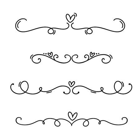 Vector vintage line elegant valentine dividers and separators, swirls and corners decorative ornaments. Floral lines filigree design heart elements. Flourish curl elements for invitation or menu page illustration.