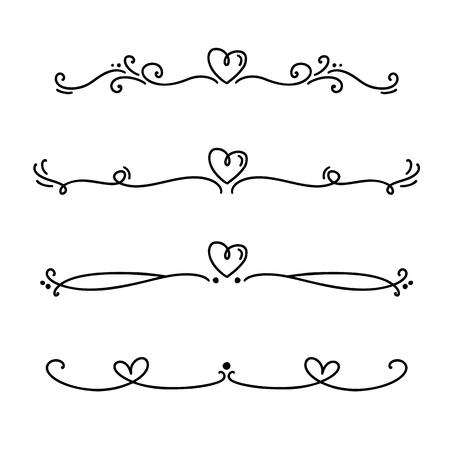 Vector vintage línea elegante San Valentín divisores y separadores, remolinos y adornos decorativos de esquinas. Elementos de corazón de diseño de filigrana de líneas florales. Florezca los elementos de rizo para la ilustración de la página de invitación o menú.