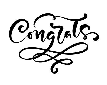 Texte de lettrage de calligraphie dessinés à la main de vecteur Félicitations. Citation de félicitations manuscrite moderne élégante. Illustration à l'encre. Affiche de typographie sur fond blanc. Pour les cartes, les invitations, les impressions. Vecteurs