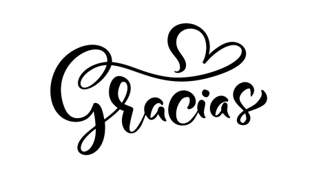 Modern brush calligraphy. Gracias hand written lettering. Thank you in spanish. Isolated on background. Vector illustration