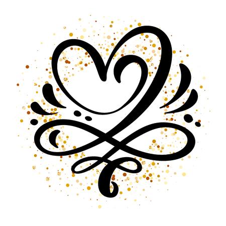 Signe d'amour coeur Illustration vectorielle. Symbole romantique lié, adhésion, passion et mariage. Concevoir un élément plat de la Saint-Valentin. Modèle pour t-shirt, carte, affiche.