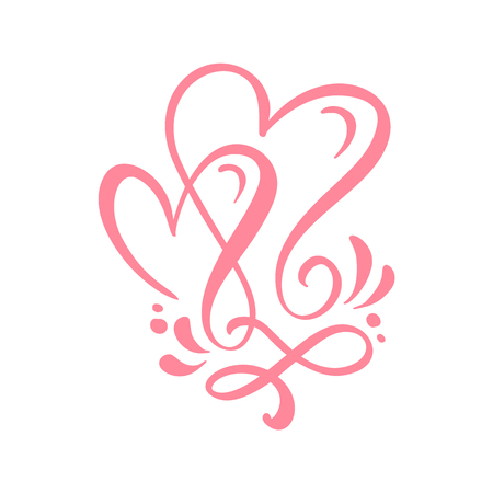 Two lover calligraphic hearts. Handmade vector calligraphy. Decor for greeting card, mug, photo overlays, t-shirt print, flyer, poster design