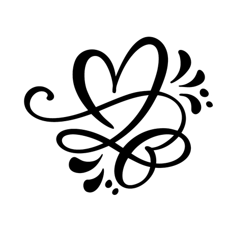 Heart love sign Vector illustration. Romantic symbol linked, join, passion and wedding. Design flat element of valentine day. Template for t-shirt, card, poster. Stok Fotoğraf - 115694481