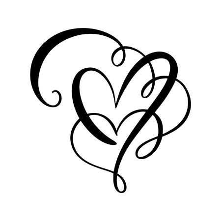 Heart love sign Vector illustration. Romantic symbol linked, join, passion and wedding. Design flat element of valentine day. Template for t-shirt, card, poster.