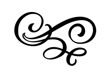 Elementos de diseño de filigrana de líneas florales. Vector vintage línea elegante divisores y separadores, remolinos y adornos decorativos de esquinas. Florecer elementos de rizo para invitación o ilustración de página de menú