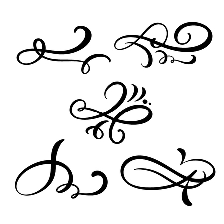 Set of vector vintage line elegant dividers and separators, swirl and corner decorative ornaments. Floral line filigree design elements. Flourish curl elements for invitation or menu page illustration.