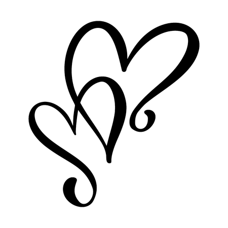Calligraphic love heart sign. Vector Romantic illustration symbol join, passion and wedding. Calligraphy Design flat element of valentine day. Template for t-shirt, card, invitation. 向量圖像