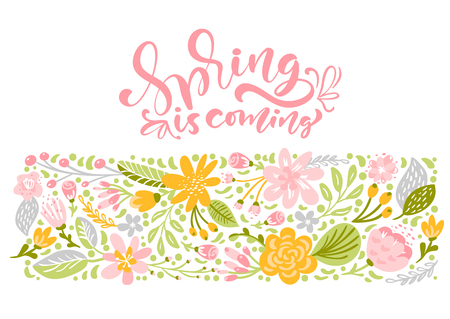 Flower Vector greeting card with text Spring is coming. Isolated flat illustration on white background. Spring scandinavian hand drawn nature wedding design.