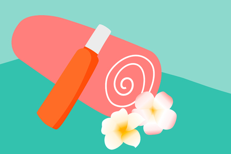 Vector Orange cotton towel and sunscreen body lotion in a orange tube on the background pool. Means for skin care, concept summer of relaxation and sun protection illustration.