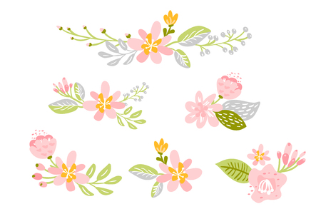Set of Vector isolated flat flower on white background. Spring scandinavian floral hand drawn nature illustration wedding design. For greeting card, print, children book.