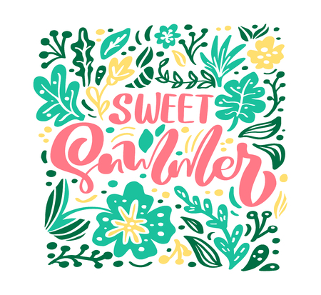 Flower Vector greeting card with text Sweet Summer. Isolated colored flat illustration on white background. Scandinavian hand drawn nature design. Stock Illustratie