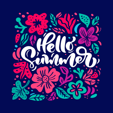 Flower Vector greeting card with text Hello Summer. Isolated colored floral flat illustration. Scandinavian hand drawn nature design.