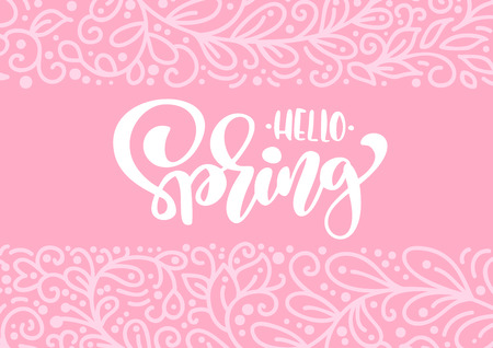 Vector greeting card with text Hello Spring. Isolated flat illustration frame on pink background. Spring scandinavian hand drawn nature design ornament. Illustration