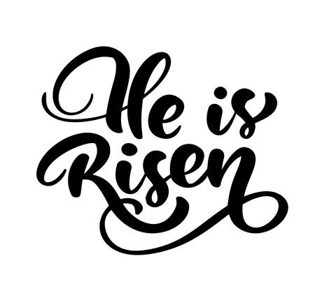 Dessinés à la main Joyeuses Pâques calligraphie moderne au pinceau lettrage texte bible Il est ressuscité. Illustration vectorielle d'encre. Isolé sur fond blanc