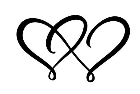 Due segni di cuore d'amore. Romantico. Simbolo dell'icona illustrazione vettoriale - unisciti a San Valentino e al matrimonio. Modello per maglietta, carta, poster. Elemento piatto di design Vettoriali