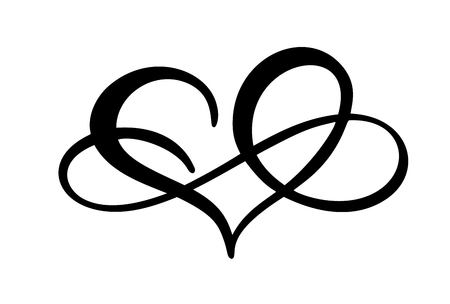 Love heart with sign of infinity. Icon for greeting card or wedding, Valentines day, tattoo, print. Vector calligraphy illustration isolated on a white background Ilustrace