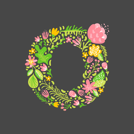 Floral summer Letter O. Flower Capital wedding Uppercase Alphabet. Colorful font with flowers and leaves. Vector illustration Grotesque scandinavian style.