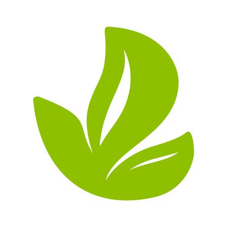 Logo of green leaf of tea. Ecology nature element vector icon flat. Eco vegan bio calligraphy hand drawn illustration