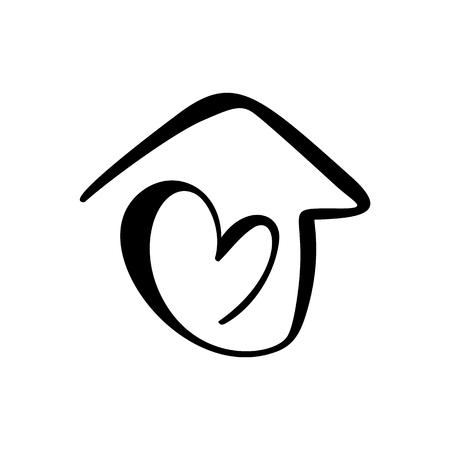 Maison de calligraphie simple avec coeur. Icône de vecteur réel. Concept confort et protection. Architecture Construction pour la conception de la maison. Élément de logo dessiné à la main vintage art