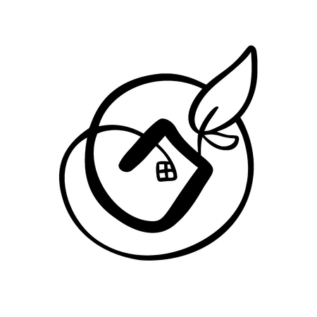 Eco House leaf. Simple Calligraphy nature Vector bio Icon. Estate Architecture Construction for design.