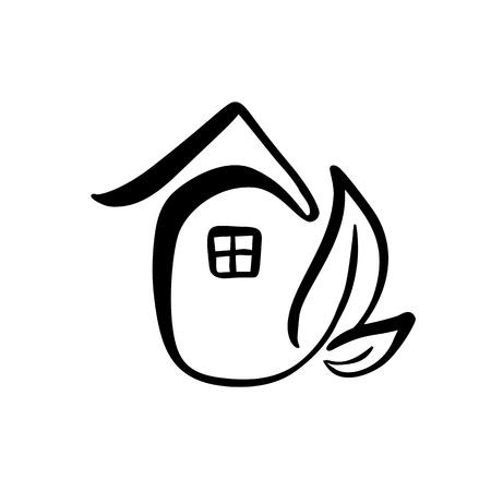 Öko-Hausblatt. Einfache Kalligraphie Natur Vektor-Bio-Symbol. Immobilienarchitektur Bau für Design.