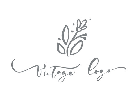 Vintage logo calligraphic text. Vector trendy scandinavian floral hand drawn beauty, organic cosmetics, florist, photography, wedding flower, home decor, badges emblem logotypes. Icon elegant plant