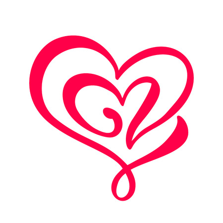 Dibujado a mano dos signo de amor de corazón. Ilustración de vector de caligrafía romántica. Símbolo de icono de Concepn para camiseta, tarjeta de felicitación, cartel de boda. Diseño de elemento plano del día de san valentín. Ilustración de vector