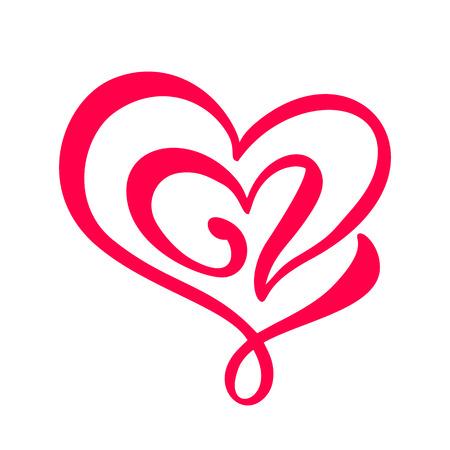 Handgezeichnete zwei Herz-Liebeszeichen. Romantische Kalligraphie-Vektor-Illustration. Concepn-Symbol für T-Shirt, Grußkarte, Posterhochzeit. Design flaches Element des Valentinstags Vektorgrafik