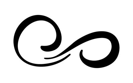 Symbole d'illustration vectorielle de calligraphie à l'infini. Emblème éternel illimité. Silhouette de ruban noir mobius. Coup de pinceau moderne. Cycle concept de vie sans fin. Élément de conception graphique pour le tatouage de carte et de logo Logo
