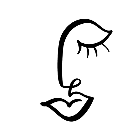 Continuous line, drawing of woman face, fashion minimalist concept. Stylized linear female head with closed eyes, skin care logo, beauty salon icon. Vector illustration