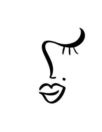 Continuous line, drawing of woman face beauty, fashion minimalist concept. Stylized linear female head with closed eyes, skin care logo, beauty salon icon. Vector illustration