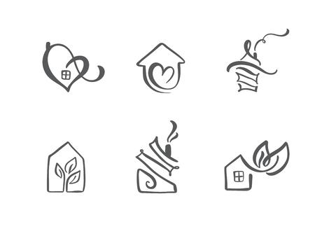 Satz einfache Kalligraphie beherbergt handgezeichnetes Logo. Echte Vektor-Icons. Immobilienarchitektur Bau für Design. Kunsthaus Vintage-Element