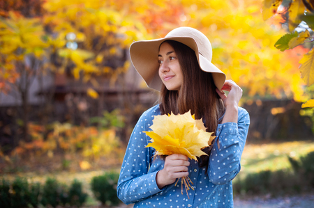Beautiful young woman holding a bunch of autumn leaves. Gorgeous young woman in autumn in park with big yellow leaves, smiling and enjoying nature. Natural lighting, retouched, back light, closeup, copy space 스톡 콘텐츠