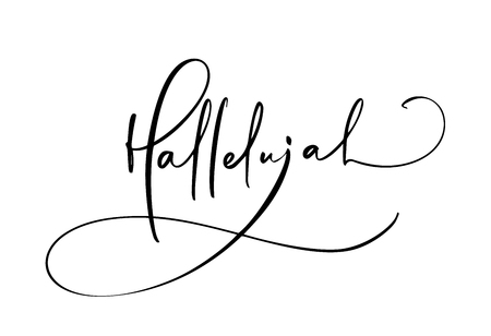 Testo di calligrafia di vettore di Hallelujah. Frase cristiana della Bibbia isolata su priorità bassa bianca. Illustrazione dell'iscrizione dell'annata disegnata a mano.