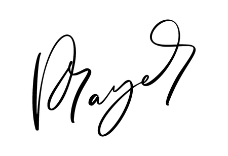 Dibujado a mano texto de oración de caligrafía. Letras de tipografía cristiana, diseño de dibujo para pancarta, póster, superposición de fotos, diseño de ropa. Ilustración de vector aislado sobre fondo blanco.