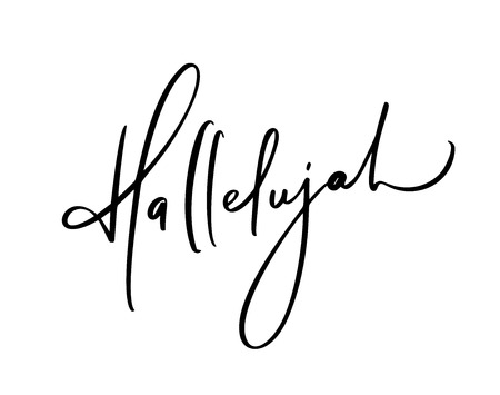 Hallelujah vector calligraphy Bible text. Christian phrase isolated on white background. Hand drawn vintage lettering illustration. Vektorové ilustrace