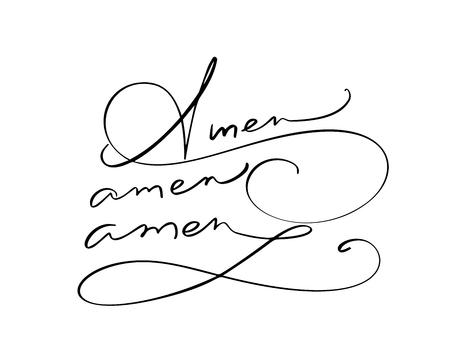 Amen vector calligraphy Bible text. Christian phrase isolated on white background. Hand drawn vintage lettering illustration.