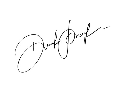 Manual signature for documents on white background. Hand drawn Calligraphy lettering Vector illustration. Illustration
