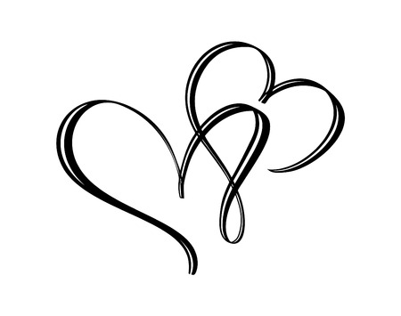 Hand drawn two Heart love sign. Romantic calligraphy vector illustration. Concepn icon symbol for t-shirt, greeting card, poster wedding. Design flat element of valentine day.