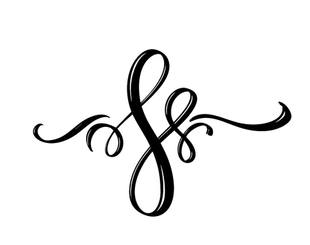 Vector floral calligraphy element flourish. Hand drawn divider for page decoration and frame design illustration swirl ornament. Decorative silhouette for wedding cards and invitations. Vetores