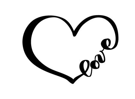 Coeur dessiné à la main avec signe d'amour de texte. Illustration vectorielle de calligraphie romantique. Symbole d'icône Concepn pour t-shirt, carte de voeux, affiche de mariage. Concevoir un élément plat de la Saint-Valentin. Vecteurs