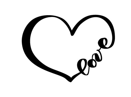 Hand drawn Heart with text love sign. Romantic calligraphy vector illustration. Concepn icon symbol for t-shirt, greeting card, poster wedding. Design flat element of valentine day.