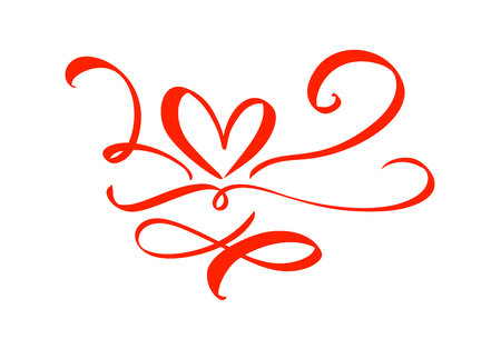 Hand drawn Heart love sign. Romantic calligraphy vector illustration. Concepn icon symbol for t-shirt, greeting card, poster wedding. Design flat element of valentine day. Çizim
