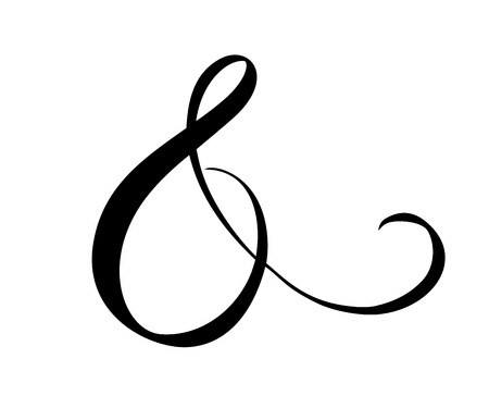 Custom decorative ampersand isolated on white. Hand written calligraphy, vector illustration. Great for wedding invitations, cards, banners, photo overlays. Ilustração Vetorial