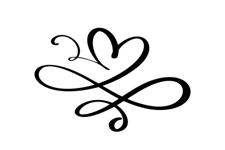Hand drawn Heart love sign. Romantic calligraphy vector of valentine day. Concepn icon symbol for t-shirt, greeting card, poster wedding. Design flat element illustration. Illustration