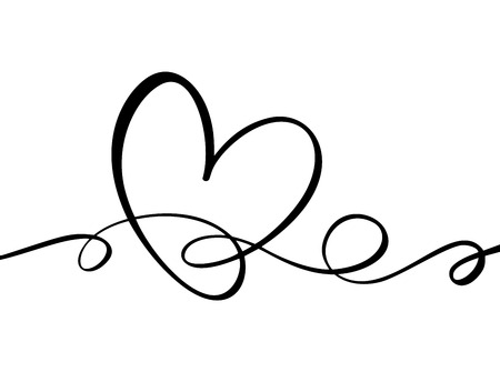 Hand drawn Heart love sign. Romantic calligraphy vector of valentine day. Concepn icon symbol for t-shirt, greeting card, poster wedding. Design flat element illustration. Vettoriali